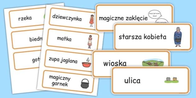 Karty ze słownictwem Słodka zupa po polsku - bajki, baśnie