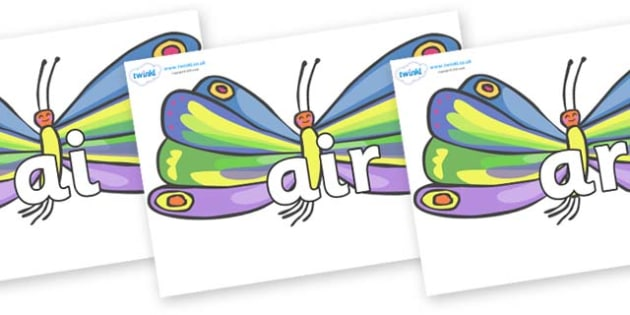 Phase 3 Phonemes on Butterflies to Support Teaching on The Very Hungry Caterpillar - Phonemes, phoneme, Phase 3, Phase three, Foundation, Literacy, Letters and Sounds, DfES, display