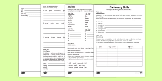 Dictionary Skills Activity Sheets English/Polish