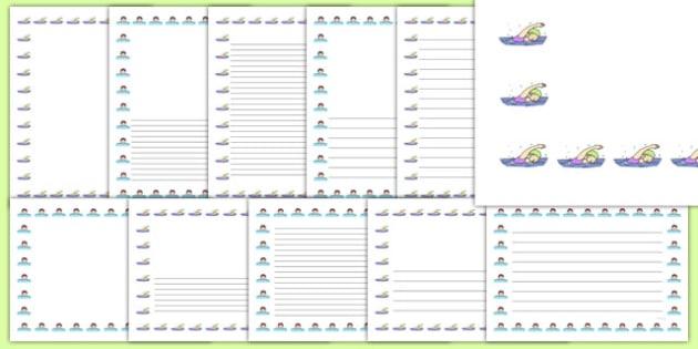 Swimming Cap Portrait Page Borders- Portrait Page Borders - Page border, border, writing template, writing aid, writing frame, a4 border, template, templates, landscape