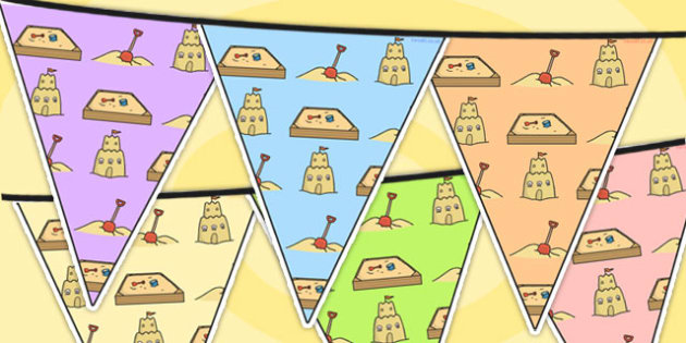 Sand Area Themed Bunting - sand, classroom area, display, bunting