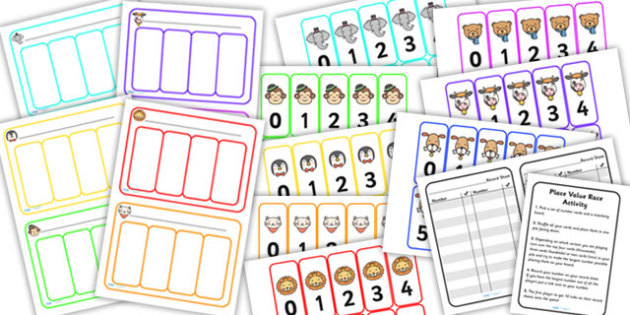Place Value Race Activity Ten Hundreds Thousands - place value, place value activity, place value game, ks2 maths game, place value card game, ks2 maths