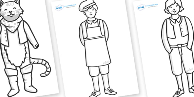 Puss in Boots Colouring Sheets - education, home school, free