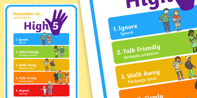 High Five How To Deal With Bullying Large Display Poster Romanian Translation - bully, buly, bulying