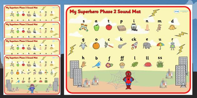 Superhero Themed Phase 2 Sound Mat - superheroes, phase two, mat