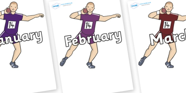 Months of the Year on Shot Put - Months of the Year, Months poster, Months display, display, poster, frieze, Months, month, January, February, March, April, May, June, July, August, September
