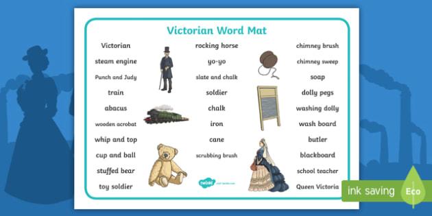 The Victorians Word Mat (Text) -  Victorians, Queen Victoria, 19th century, text, word mat, mat, writing aid, British History, Britain, Victorian toys, Victorian school, butler
