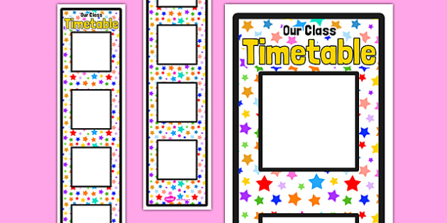 Multicoloured Stars Themed Vertical Daily Routine Display