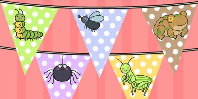 Minibeasts Cute Bunting - bunting, display bunting, flag, display