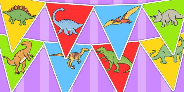 Dinosaur Bunting - dinosaurs, prehistoric, bunting, display