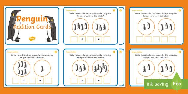 Penguin Addition Sentences Activity Sheets - winter, penguins, addition, counting, number sentences, addition sentences,