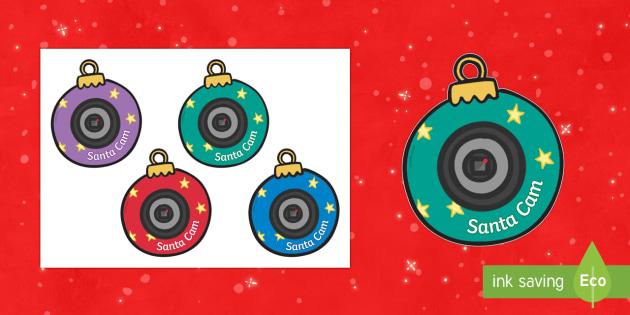 Santa Cam Christmas Baubles - santa, santa watching, santa surveillance, christmas, xmas, xmas ideas