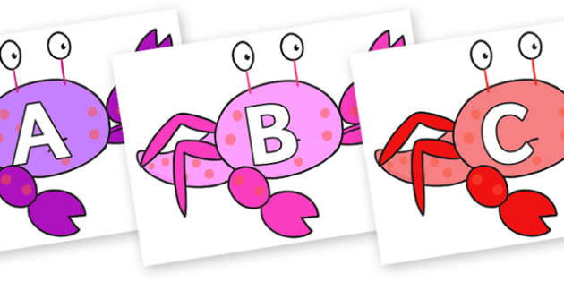 A-Z Alphabet on Crab to Support Teaching on Sharing a Shell - A-Z, A4, display, Alphabet frieze, Display letters, Letter posters, A-Z letters, Alphabet flashcards