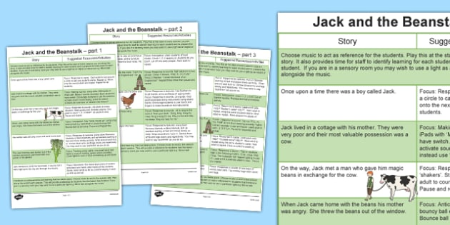 Jack and the Beanstalk Sensory Story - jack and the beanstalk