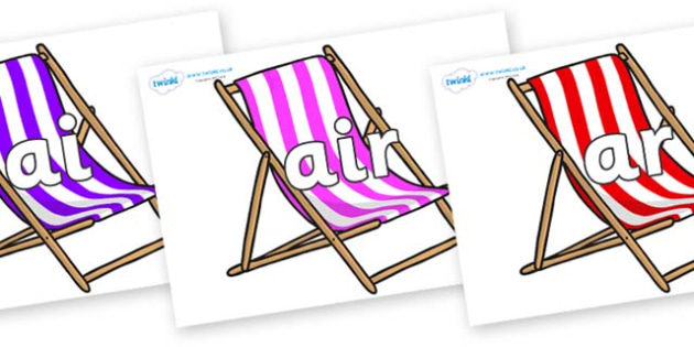 Phase 3 Phonemes on Deck Chairs - Phonemes, phoneme, Phase 3, Phase three, Foundation, Literacy, Letters and Sounds, DfES, display