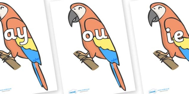 Phase 5 Phonemes on Parrots - Phonemes, phoneme, Phase 5, Phase five, Foundation, Literacy, Letters and Sounds, DfES, display