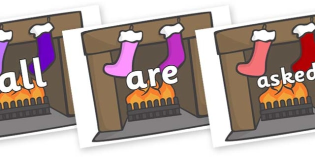 Tricky Words on Fireplace & Stockings - Tricky words, DfES Letters and Sounds, Letters and sounds, display, words