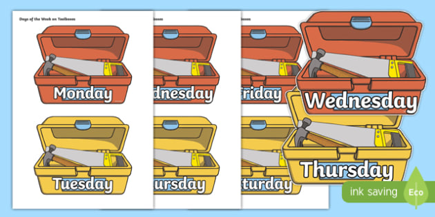 Days of the Week on Toolboxes - days of the week, toolboxes, display