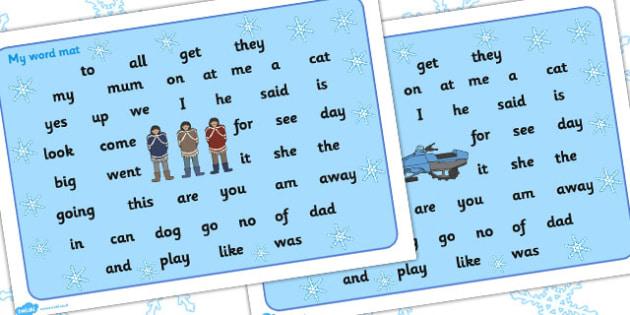 Polar Regions Themed FS2 Word Mat - polar, fs2, word mat, mat