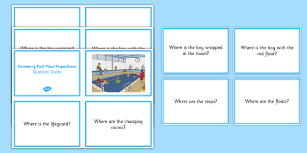 Swimming Pool Place Prepositions Question Cards - place prepositions, swimming pool