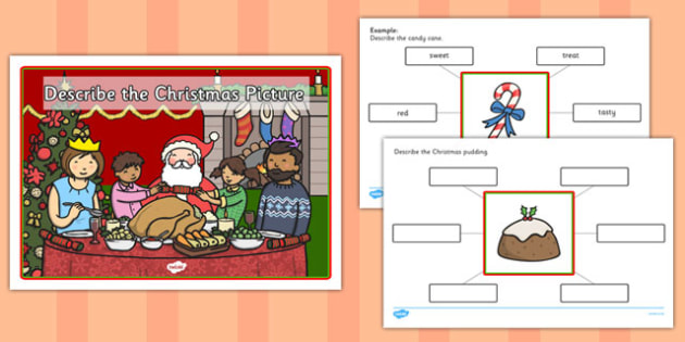 Describe the Picture Christmas Writing Frame - christmas, writing frame