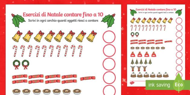 Contare fino a 10 a Natale Esercizi - Contare, numeri, Natale, natalizio, Babbo Natale, festivo, campane, italiano, inglese
