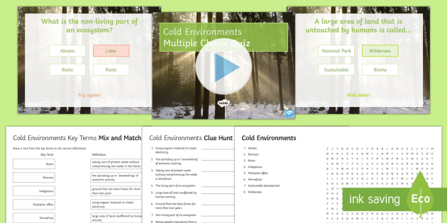 Cold Environments in the UK Activity Pack - Physical Landscapes in the UK, AQA, GCSE, cold environments, permafrost, indigenous, quiz, wordsearc