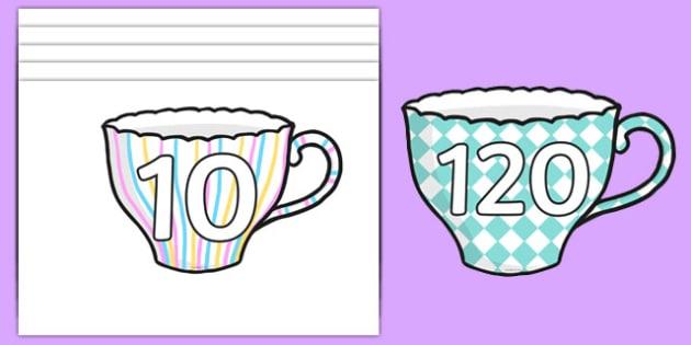 Numbers 10 120 on Teacups - Numbers 10-120, numberline 10-120, numberlines, numbers on teacups, fun numberlines, 10-120, numbers 10-120 on teacups