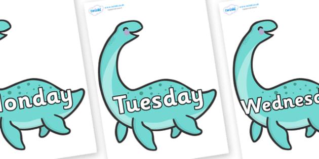 Days of the Week on Pleseosaur Dinosaurs - Days of the Week, Weeks poster, week, display, poster, frieze, Days, Day, Monday, Tuesday, Wednesday, Thursday, Friday, Saturday, Sunday