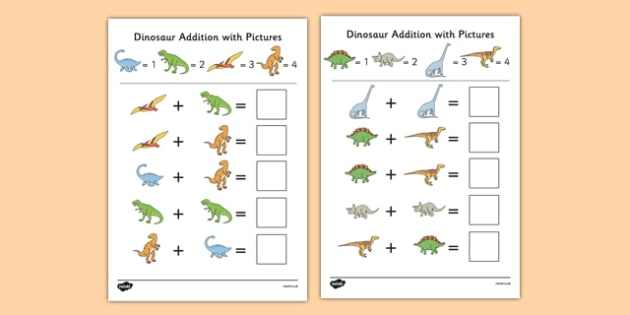 Dinosaurs Themed Addition with Pictures Activity Sheet Pack - themed, addition, pictures, activity, sheets, dinosaurs, worksheet