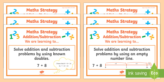 Addition/Subtraction Stage 5 WALT Display Posters - WALT cards for NZ Mathematics, Stage 5, Modelling books, WALTs, Learning Intentions, Addition, Subtr