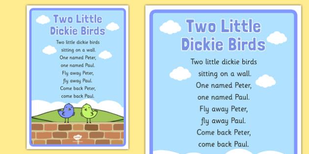 Two Little Dickie Birds Nursery Rhyme Poster - rhymes, display