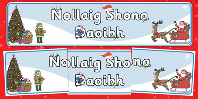 Happy Christmas Plural Banner Gaeilge - gaeilge, happy christmas, plural, banner, display