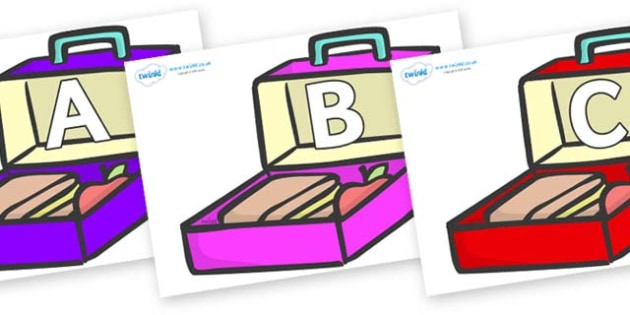 A-Z Alphabet on Lunchboxes (Multicolour) - A-Z, A4, display, Alphabet frieze, Display letters, Letter posters, A-Z letters, Alphabet flashcards