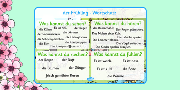 Spring Themed Senses Word Mat German - german, spring, seasons, word mat, senses