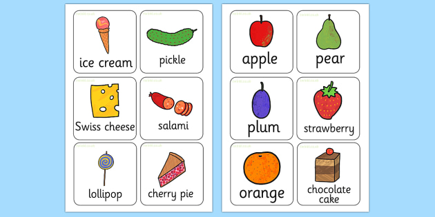 Topic Food Flashcards to Support Teaching on The Very Hungry Caterpillar - keywords