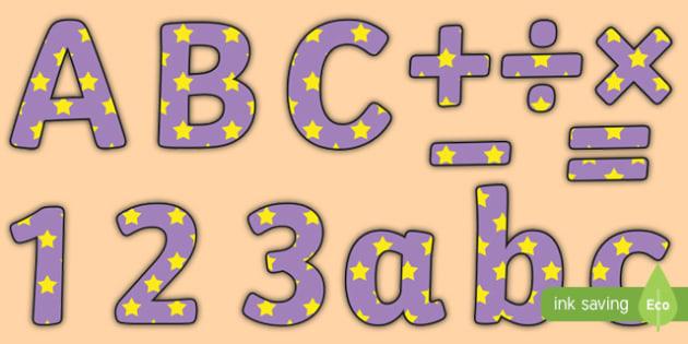 Lilac and Yellow Stars Editable Display Lettering - lilac, yellow, display lettering, display letters, lettering, display alphabet, lettering for display