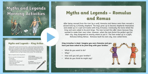 1 Week Myths and Legends Topic Morning Activities LKS2 - myth