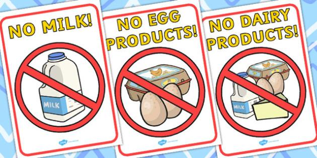 No Dairy Display Posters - posters, display, food, food groups