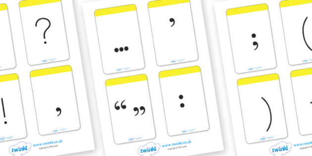 Punctuation Flash Cards - punctuation, visual aid, literacy