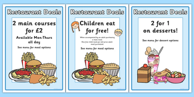 Restaurant Role Play Signs - food, roleplay, props, sign, eating