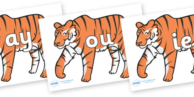 Phase 5 Phonemes on Tigers - Phonemes, phoneme, Phase 5, Phase five, Foundation, Literacy, Letters and Sounds, DfES, display