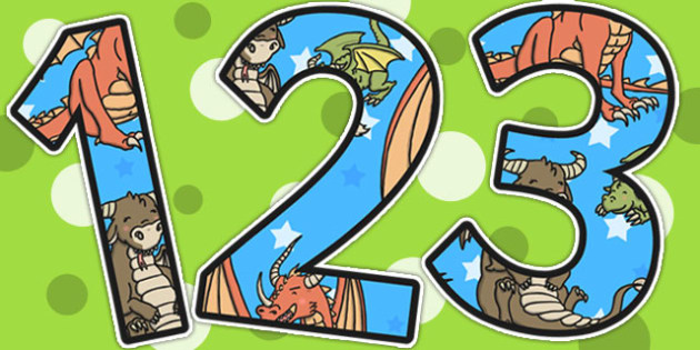 Dragon Themed A4 Display Numbers - number, displays, dragons