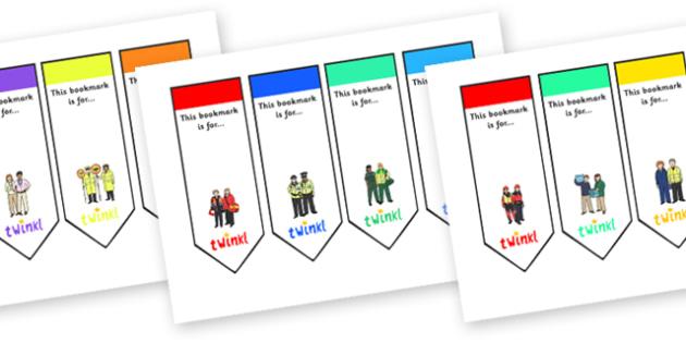 People Who Help Us Editable Bookmarks - people who help us, people who help us bookmarks, people who help us themed bookmarks, firefighter bookmark, police