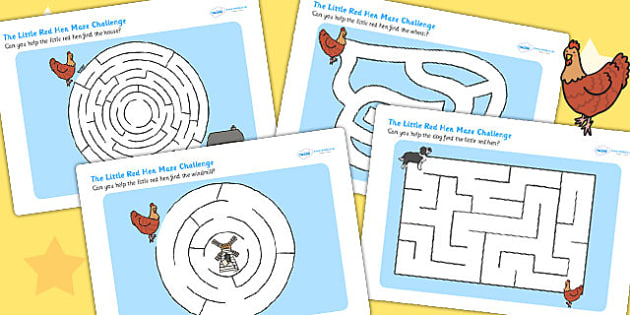 The Little Red Hen Differentiated Maze Activity Sheet Pack - games, worksheet