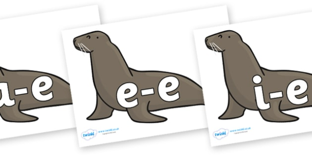 Modifying E Letters on Sealions - Modifying E, letters, modify, Phase 5, Phase five, alternative spellings for phonemes, DfES letters and Sounds
