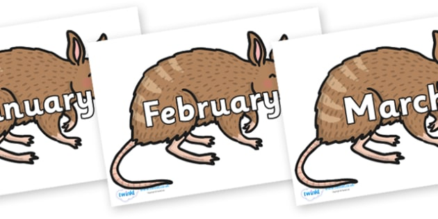 Months of the Year on Bandicoot - Months of the Year, Months poster, Months display, display, poster, frieze, Months, month, January, February, March, April, May, June, July, August, September