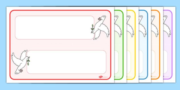 Editable Dove Themed Name Cards - editable, dove, themed, name cards, name, cards