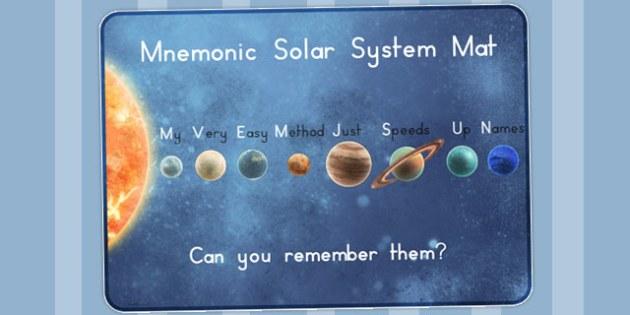 Mnemonic Solar System Mat - australia, mnemonic, solar system