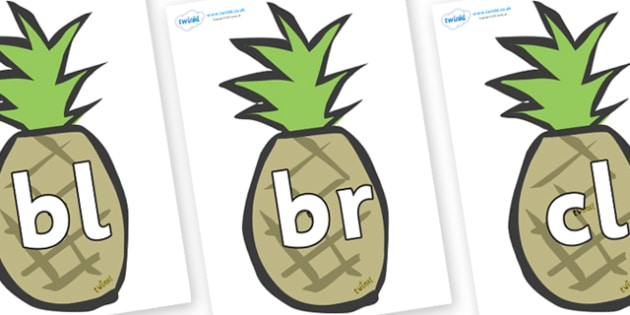 Initial Letter Blends on Pineapples - Initial Letters, initial letter, letter blend, letter blends, consonant, consonants, digraph, trigraph, literacy, alphabet, letters, foundation stage literacy